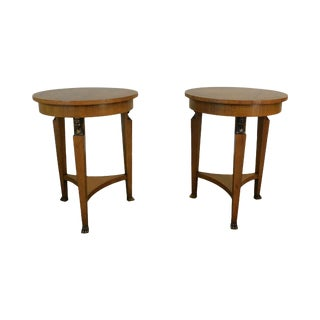 Baker French Empire Style Vintage Pair Round Walnut Side Tables For Sale