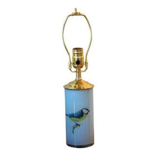 Bird Decoupage Lamp in Light Blue For Sale