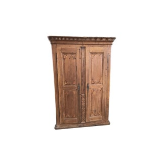 18th Century Carved Pine Two Door Armoire With Dental Molding For Sale