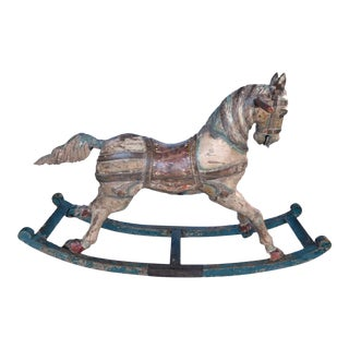 French 19th Century Painted Bow Rocking Horse For Sale