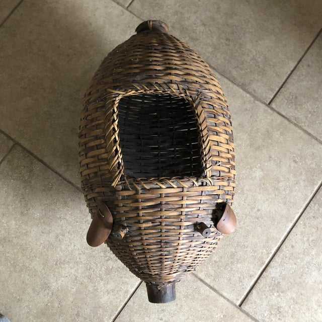 Wicker Mid Century Bamboo and Wicker Pig Basket For Sale - Image 7 of 13