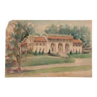 Original Vintage Watercolor Painting of a Fine Estate For Sale