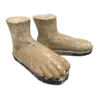Enormous Hand Carved Wood Feet - a Pair For Sale
