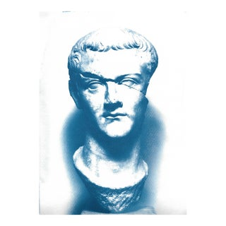 Limited Edition: Caligula Roman Sculpture, Cyanoptype on Watercolor Paper For Sale