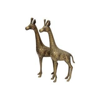Standing Matched Brass Giraffes - Pair