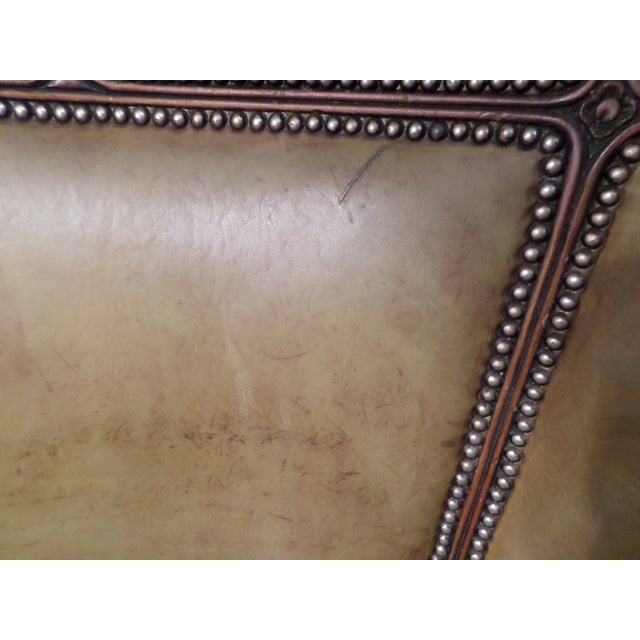 Louis XV Style Carved Beechwood & Leather Porter Chair For Sale - Image 11 of 12
