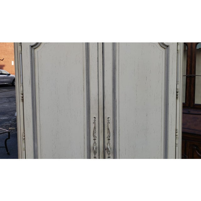 French Painted White Century Furniture French Provincial Double Door Bedroom Tv Armoire Cabinet C1990s For Sale - Image 3 of 12
