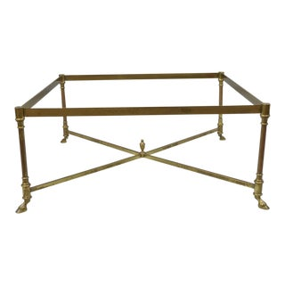 Square Brass Goat Hoof Base Coffee Table
