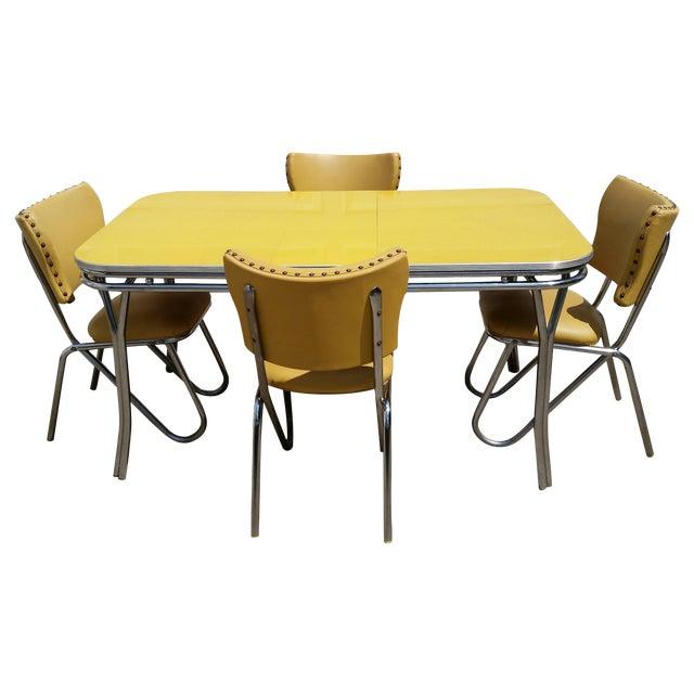Cool Vintage Midcentury Retro Yellow Dining Set Download Free Architecture Designs Xoliawazosbritishbridgeorg