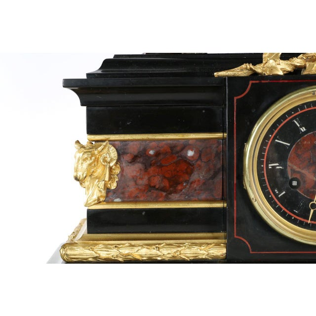 Traditional J.E. Caldwell Mantel Clock With Bronze Sculpture of a Cartographer - Image 6 of 10