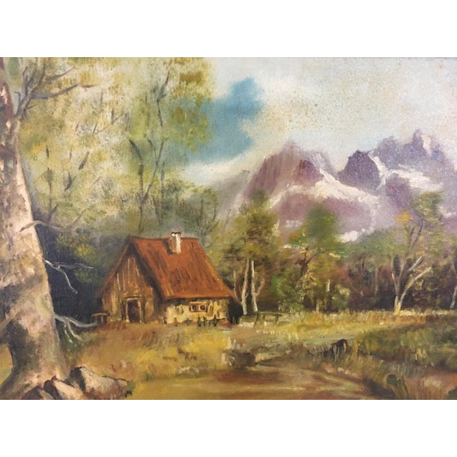 1972 Hudson Valley Mountain Cabin Oil Painting For Sale - Image 4 of 7