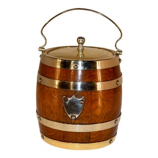 English Oak Silver Plated Biscuit Barrel, Circa 1900 For Sale