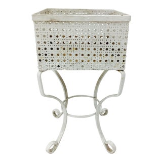 Victorian White Cane Metal Planter Stand For Sale