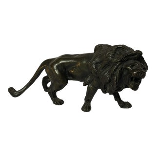Late 19th Century Antique French Bronze Lion Figurine For Sale