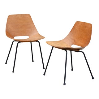 1950s Vintage Bent Plywood Tonneau Side Chairs by Pierre Guariche- A Pair For Sale