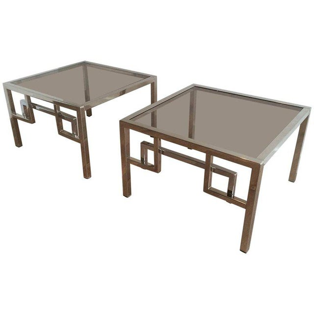 Pair of Chrome Side Tables With Greek Key Design, French, Circa 1970 - Image 11 of 11