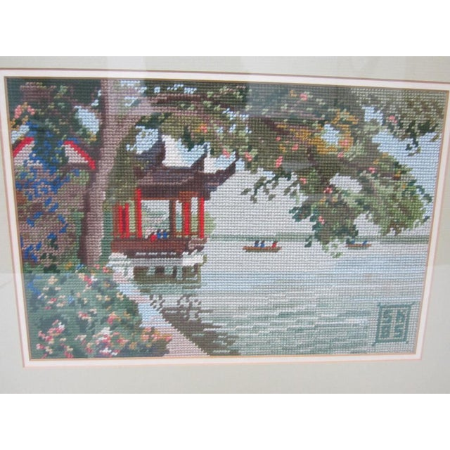 Oriental Asian Teahouse on the Lake Needlepoint - Image 3 of 11