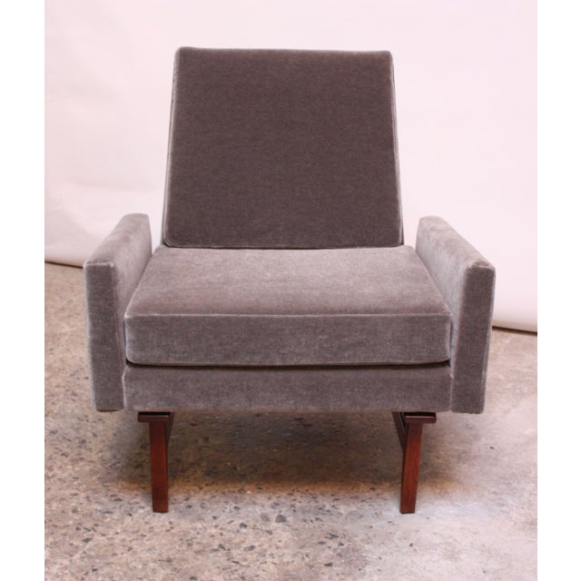 Early Jens Risom Walnut and Mohair Lounge Chair - Image 4 of 11