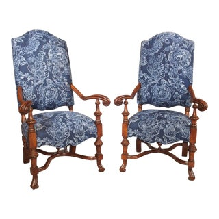 Carved Oak Armchairs From Spain, 20th Century - a Pair For Sale