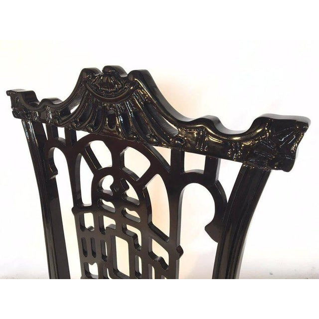 1980s Set of 4 Black Lacquer Asian Chinoiserie Pagoda Dining Chairs For Sale - Image 5 of 9
