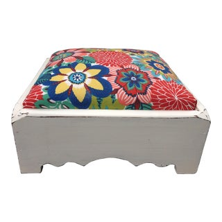 1980s Vintage Floral Fabric Footstool For Sale