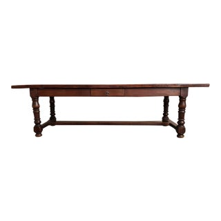 Long Oak Antique French Country Massive Trestle Dining Table 3 Drawers Great Patina For Sale