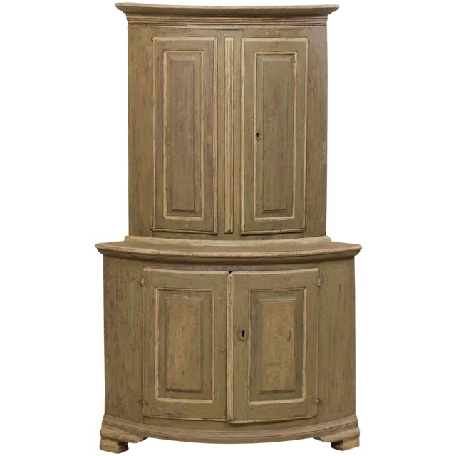 18th Century Antique Gustavian Swedish Painted Wood Corner Cabinet For Sale