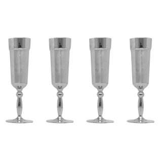 Platinum Florentine Champagne Flutes - Set of 4 For Sale
