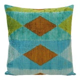 "Image of Natural Silk Velvet Ikat Pillow - Diamond Teal and Green, 20"" X 20"" For Sale"