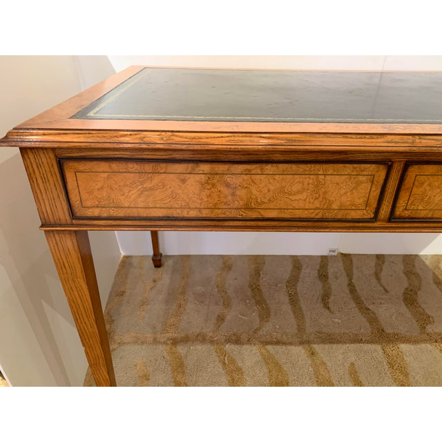 Vintage Mahogany Writing Desk With Black Leather Top For Sale - Image 9 of 13