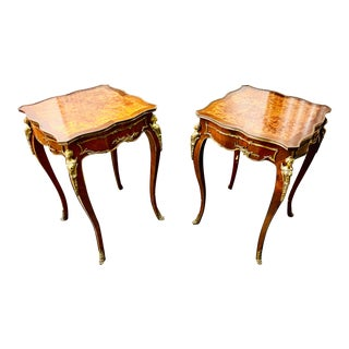 Antique Louis XV Style Ormolu Mounted Burl Accent Tables - a Pair For Sale