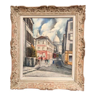 French Forest Montmartre and Sacre Coeur Painting Signed Gilbert Forest Dated 1904 For Sale