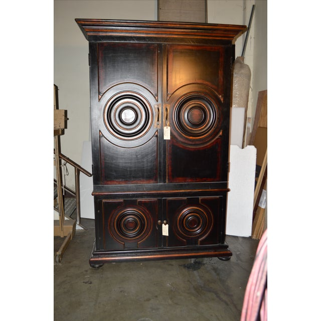Vintage Circle Motif Wood Armoire - Image 5 of 7