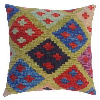 """Coleman Lime Green/Blue Hand-Woven Kilim Throw Pillow(18""""x18"""") For Sale"""