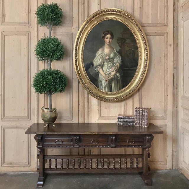 Antique Spanish Renaissance Walnut Hall Table ~ Console is also a good choice as a sideboard or sofa table! Hand-crafted...