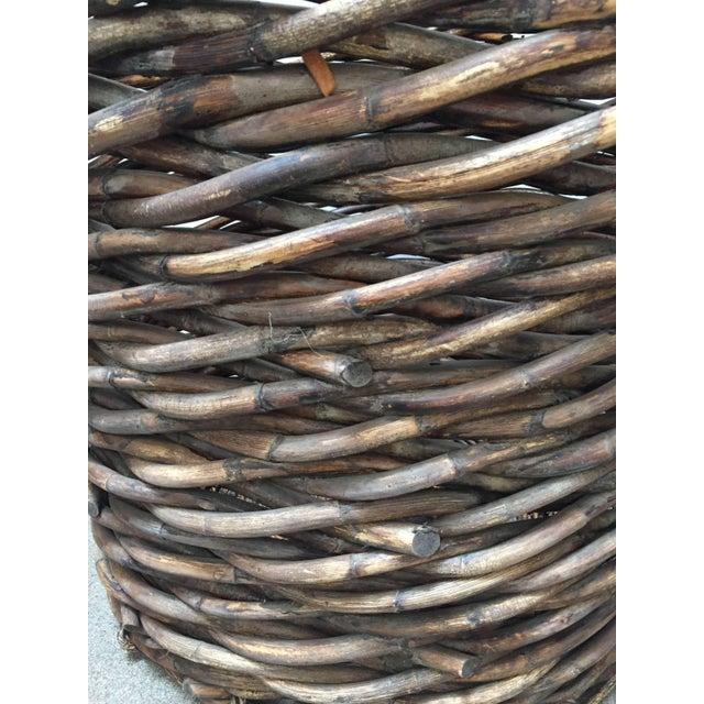 French Vintage Oversized Harvest Wicker Basket For Sale - Image 9 of 10