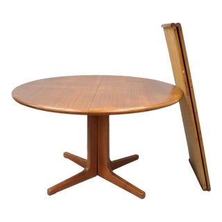 Vintage Mid-Century Danish Modern Round Teak Dining Table