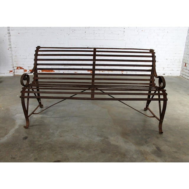 Georgian Antique 19th Century Forged Strap Iron Garden Bench For Sale - Image 3 of 10