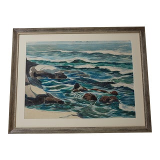 A Large California Plein Air Watercolor Seascape by J. Milford Ellison in 1962