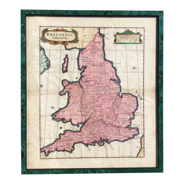 Antique 1695 Framed Map of Saxon England & Wales For Sale