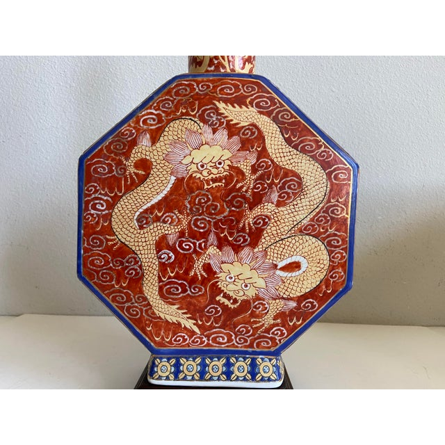 1940s Antique Chinese Dragons Lamp & Shade For Sale - Image 5 of 12