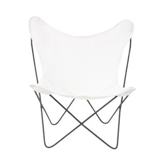 Vintage Mid Century White Butterfly Chair For Sale