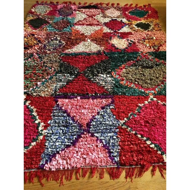 "Vintage ""Pembe"" Moroccan Boucherouite Rug - 5′ × 6'4"" For Sale - Image 4 of 8"