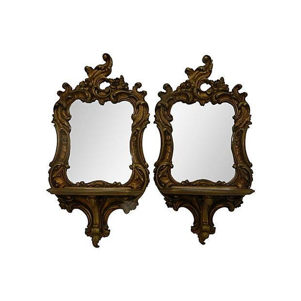 Rococo-Style Shelves Mirrors - A Pair - Image 2 of 4