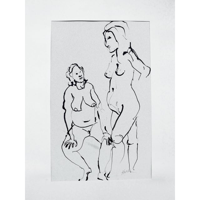 The Conversation Ink Drawing - Image 1 of 7