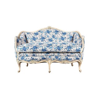 1940s Floral French Louis XV Settee For Sale
