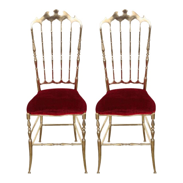 Pair of Brass Chairs by Chiavari Italy For Sale
