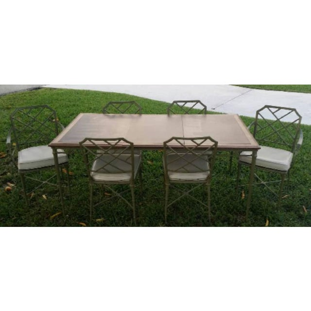Vintage Hollywood Palm Beach Regency seven-piece Brown Jordan Calcutta faux bamboo patio metal dining table set aluminium....