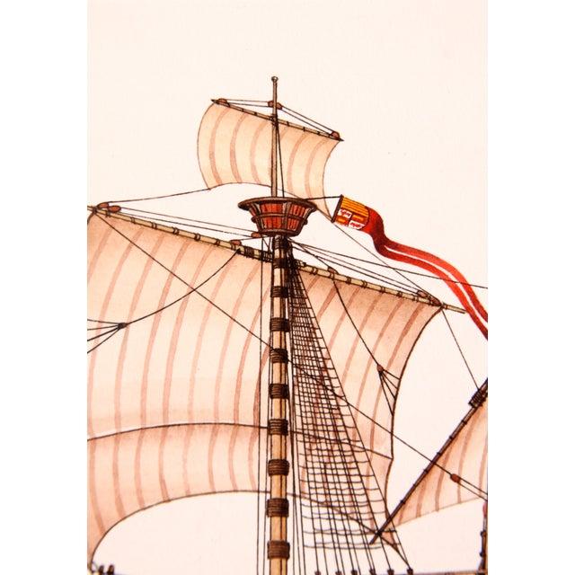 Nautical Santa Maria Ship Watercolor For Sale - Image 3 of 3