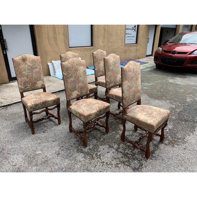 French 1900s Vintage French Louis XIII Style Os De Mouton Dining Chairs - Set of 6 For Sale - Image 3 of 12